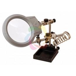 """Держатель """"третья рука"""" с лупой х2.5, подставкой под паяльник и LED подсветкой (CT-293 LED) (ZD-10M) REXANT"""